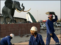 Construction workers at the Maponya Mall in Soweto