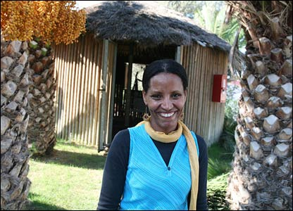 Sigal Kanotopsky outside Ethiopian gojo (photo and copyright: Noam Sharon atp)