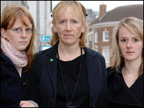 Jessica's mother Dr Angela Gilbert and sisters Sam (left) and Anni