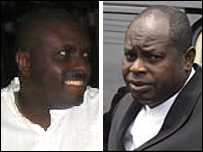 James Ibori (Delta website) on left, DSP Alamieyeseigha (AFP) on right