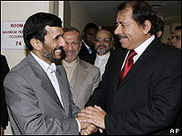 Presidente iran�, Mahmoud Ahmadinejad con Daniel Ortega, presidente de Nicaragua (26.09.07)