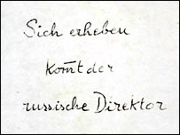 Hess wrote a note reminding himself to stand for the Russian governor