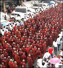 Buddhist Monks protest in Rangoon on 24 September 2007
