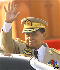 Burma's leader, Senior General Than Shwe, in March 2007