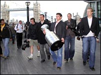 The Anaheim Ducks with the Stanley Cup in London. Photo by Diane Davey.