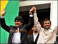 Bolivian President Evo Morales (left) and Iranian President Mahmoud Ahmadinejad