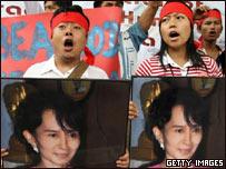 Manifestantes con la imagen de Aung San Suu Kyi