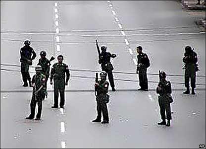 Riot police patrol Rangoon on Thursday 27 September 2007
