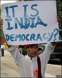 A Burmese pro-democracy supporter in Delhi, India