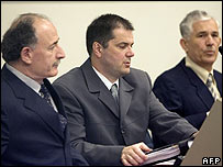 Three former Yugoslav Army officers in the dock at the Hague