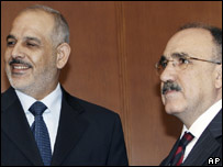 Turkish Interior Minister Besir Atalay, right, and his Iraqi counterpart Jawad al-Bolani