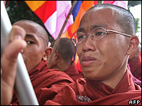 A monk in Burma sheds tears for those monks that have been arrested - 26/09/07