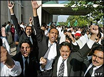 Lawyers protest against the court ruling