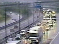 M25 traffic jam (picture from Highways Agency traffic camera)