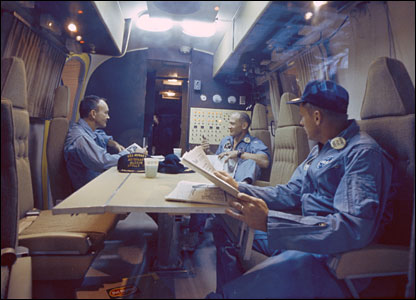 Apollo 11 crew in quarantine facility. Image: Nasa