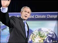 US President George W Bush at the Washington climate forum (AFP)