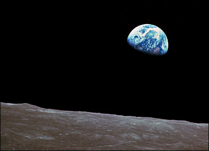 Earth rise as seen from the Apollo 8 spacecraft.