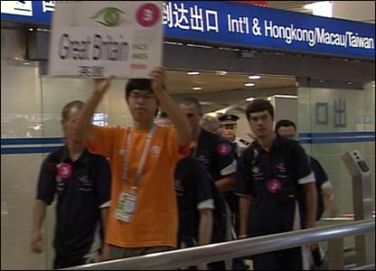 The athletes arrive in Shanghai