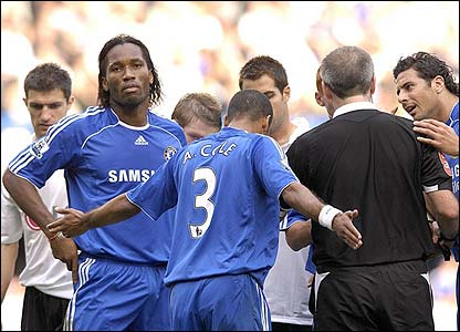 Chelsea's Didier Drogba is sent off