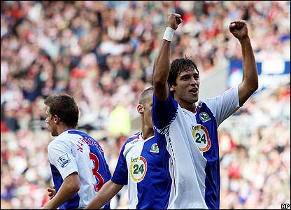 Blackburn's Roque Santa Cruz celebrates his goal