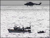 A Royal Navy interception of a suspected drugs vessel