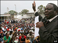 Morgan Tsvangirai at MDC rally in Masvingo