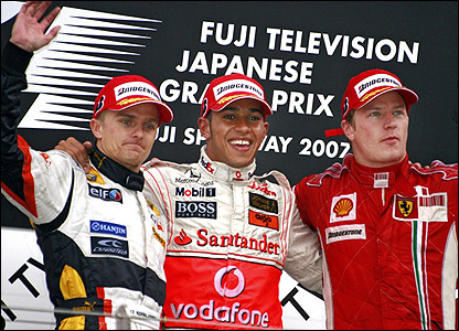 The Briton leads home Heikki Kovalainen of Renault in second and Ferrari's Kimi Raikkonen in third