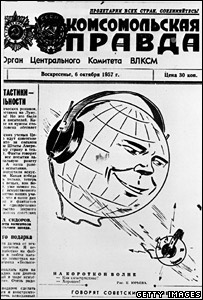 Front of Pravda newspaper, 6 October 1957. Image: Getty Images