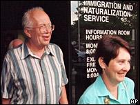 Sergei Khrushchev and Valentina. Image: AP