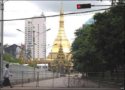 Roadblock on Rangoon street