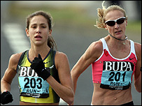 Kara Goucher and Paula Radcliffe