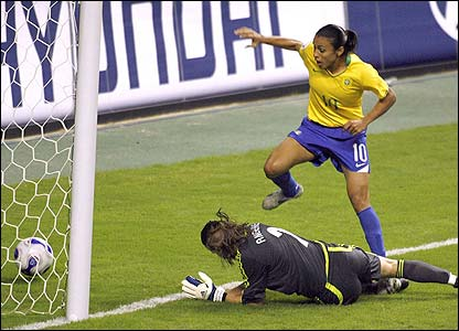 Marta is denied by Germany's keeper Nadine Angerer