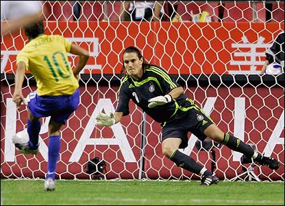 Marta's penalty is saved by Nadine Angerer