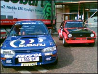 Colin McRae's rally car was parked outside the church