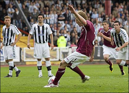 Michael Stewart scores the second from the spot for Hearts
