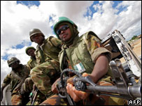 African Union mission soldiers on patrol in Darfur (file photo)