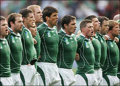 The Irish team sing their anthem