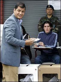 Rafael Correa votes in Quito