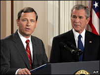 John Roberts (left) with President George W Bush as he was nominated chief justice, July 2005