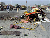 Site of suicide attack in Bannu, October 2007
