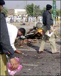 The site of the suicide attack in Bannu