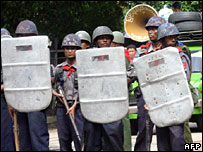 Riot police in Rangoon