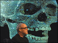 Damien Hirst  and his artwork of a diamond-encrusted skull