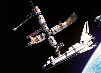 Shuttle Atlantis docked to Mir. Image: Nasa.