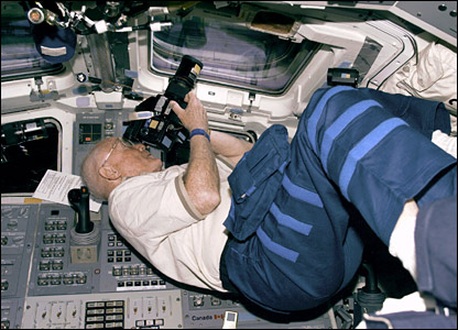 John Glenn on STS-95 shuttle mission. Image: Nasa.