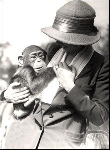 Lady with chimpanzee