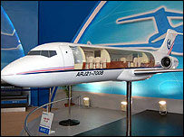 ARJ21 model on display at aviation trade show in Beijing