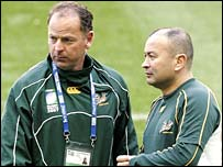 South Africa coach Jake White (left) with assistant Eddie Jones