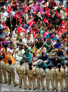 A protest by the Communist Party of India in the city of Hyderabad, India