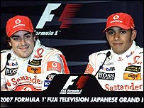 McLaren drivers Fernando Alonso (left) and Lewis Hamilton